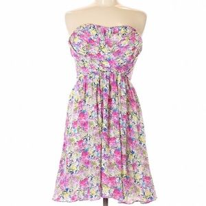 Yumi Kim Ruched Strapless Floral Dress Pink Medium